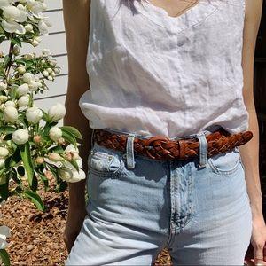Accessories - Vintage cognac braided leather belt